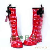 日本HelloKitty正品外贸夏女款时尚中筒水鞋套鞋胶鞋雨鞋雨靴