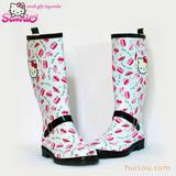 hello kitty日本外贸时尚保暖雨鞋女士雨鞋雨靴水鞋套鞋棉雨鞋