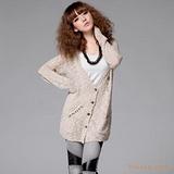 J2841#时尚韩版新款女装个性金属别针木扣外搭金博棋牌app怎么下载呢长款针织衫毛衣