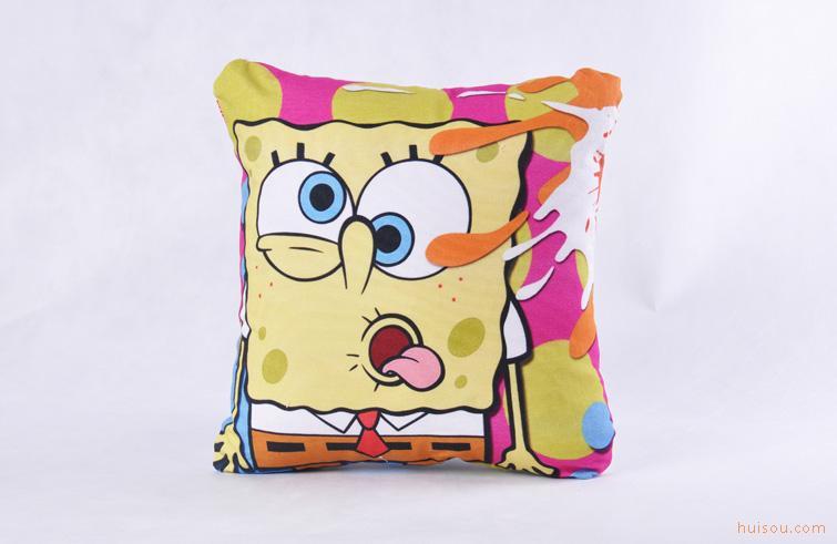 小时候 卡通 海绵宝宝 活性直喷数码印花抱枕 床头靠垫