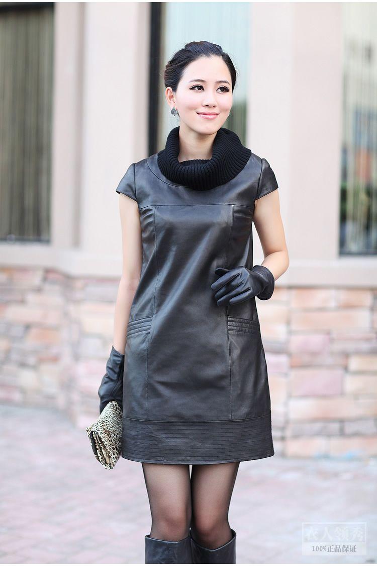 绵羊皮配针织领 长款真皮 连衣裙 皮衣外套