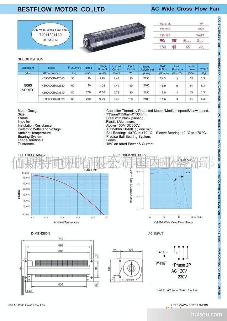 扇叶直径:90MM,长度:630MM。 扇叶材质:铝合金 轴承:滚珠轴承或含油轴承 马达:AC电容式、AC蔽极式、DC无炭刷式或DC炭刷式 绝缘等级:E级 绝缘耐压:AC1500V(50/60HZ) 绝缘抵抗:DC 500V 100M以上 使用温度:0~45度 寿命:滚珠轴承30000小时 含油轴承15000小时 特点: 本公司横流扇的直径从25mm至150mm,长度从50mm至1150mm均可制作,客户可依所需选择最适合的规格。 横流扇使用铝合金材质,重量轻、风量大、噪音低、高强度、低震动、耐温佳、寿命