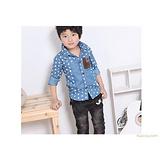 童衬衫 织里童装 韩版儿童服饰批发 点点图画外贸童装 牛仔12006