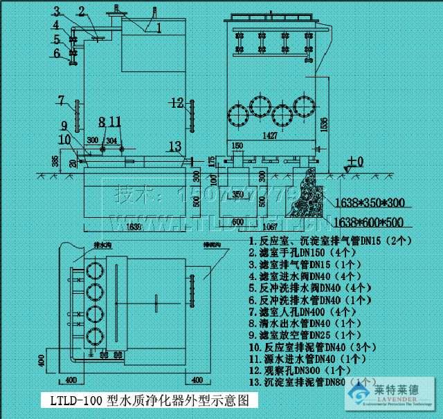 北京环保新型水质净化器外型示意图