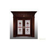 供应防盗门、别墅门、工艺门 HNBC-8187不锈钢双开门(仿黑铜)