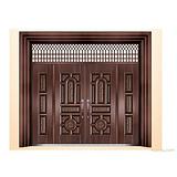 供应防盗门、别墅门、工艺门 HNBC-8170繁花似锦四开子母门(高仿真2号)