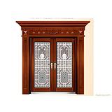 供应防盗门、别墅门、工艺门 HNBC-8188不锈钢双开门(仿红铜)