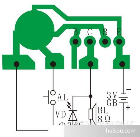 产品描述:本电路选用9300系列音乐片,用功放三极管9013将声音放大