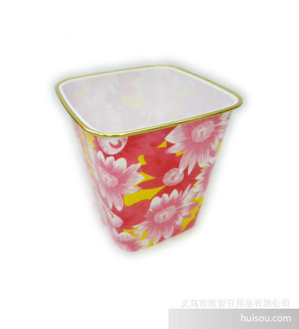 方形家用塑料垃圾桶卫生桶纸篓塑料垃圾桶      方形金边塑料垃圾桶
