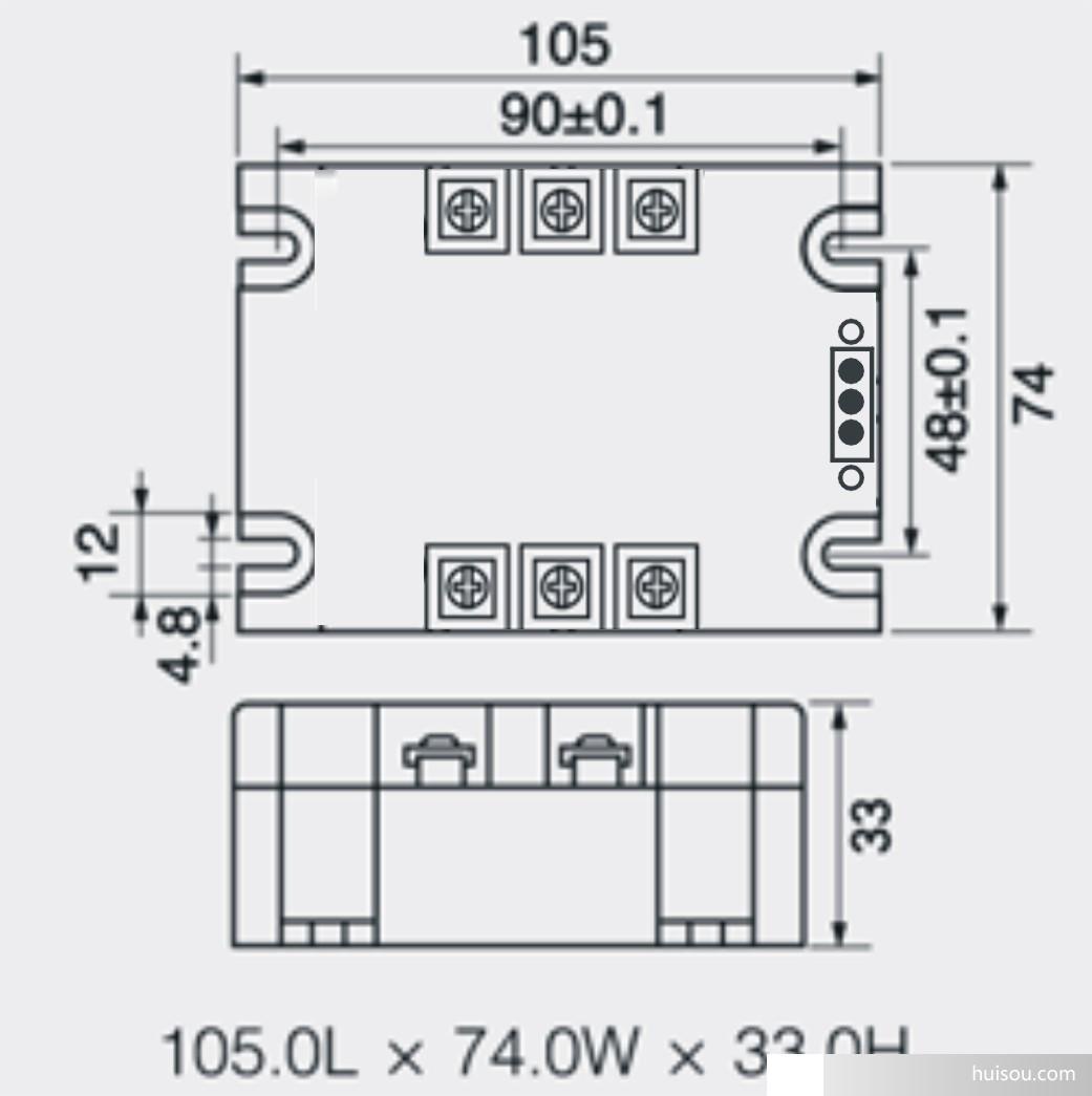 三相电机正反转控制模块外形尺寸和安装接线图