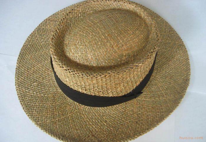 纯手工编织咸草绳托布草帽,天然草帽,大沿草编帽子,空顶帽