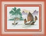 十字绣渔船高级风十字绣风景十字绣