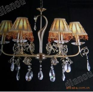 铜艺水晶吊灯,欧式灯