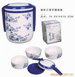 青花餐盒青花瓷饭盒三层手提餐盒可印广告