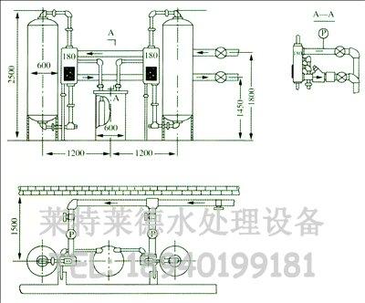 采用时间或流量控制器,构成单罐或双罐系统,配用300~500mm的树脂罐,单