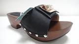 温岭珠宝利时尚女鞋  黑色 米白拖鞋