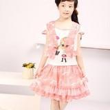 【包邮】欧臣2012夏童装女裙中大童两件套纯棉连衣裙印花娃娃