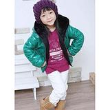 葵花籽绿紫棉服紫绿棉衣儿童韩版棉外套棉夹克带帽毛里童装棉衣