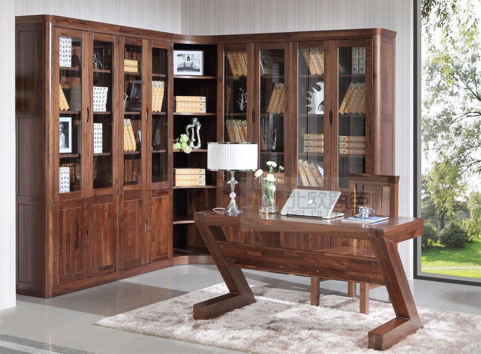高档北美黑胡桃实木书房组合书柜
