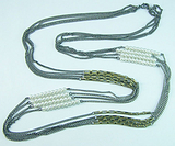欧美手工项链 多层珍珠项链