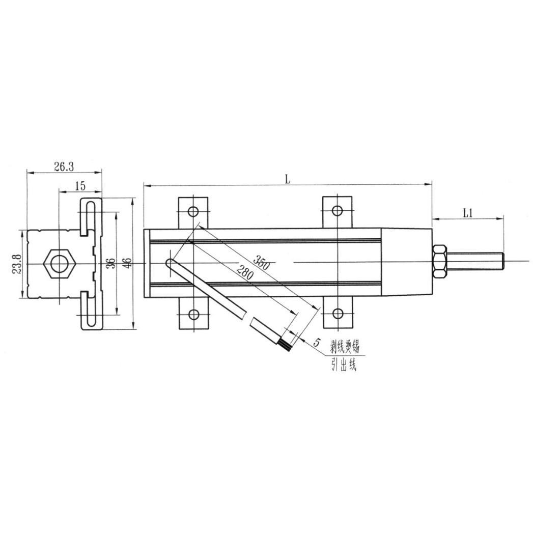 利用分压器原理加入微电路模块后以电流形式输出(4-20ma)与直线位移成