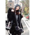 菁菁同款 2012秋冬新款 EMODA大翻领带帽紧袖披肩式毛绒开衫外套