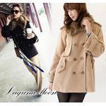 2012冬季新款 大屋夏南LagunaMoon毛领双排扣A字型中长款毛呢大衣