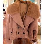 vivi11月新款LENA着dazzlin短款兔毛领外套毛衣大衣