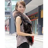 2012新款狐狸脚毛皮服装 绵羊皮衣 长款服装 皮草背心 皮草马夹