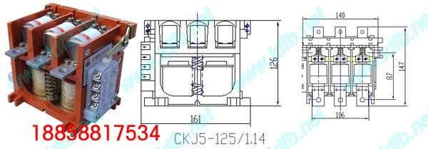 CKJ5、CKJ系列真空接触器适用于交流50HZ,额定工作电压至1140V,额定工作电流125400A的电 力网络,供直接或远距离接 通和分断主电路之用。因主触头在高真空环境中工作,因此居有电弧不外露、体积小、重量轻、寿命长、维修周期长等优点,特别适宜于组成各种路灯控制器及工作 于油田、化工等场合。