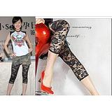 2013新款 韩版 玫瑰花镂空 黑白色 七分打底裤 七分裤 安全裤