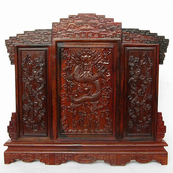 琦虎红木工艺品 红木雕刻宫廷屏风