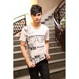2013新款男式短袖t恤 V领t恤 韩版男装丝光棉印花T恤