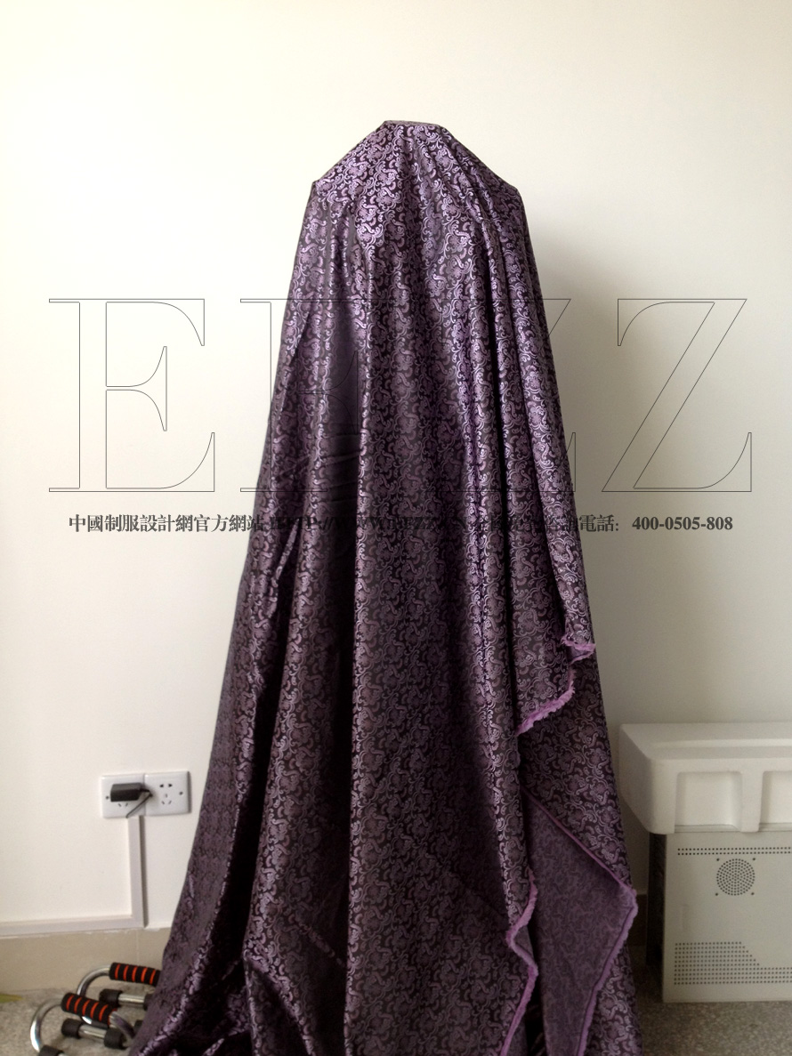 紫色欧式复古花纹高密度提花布