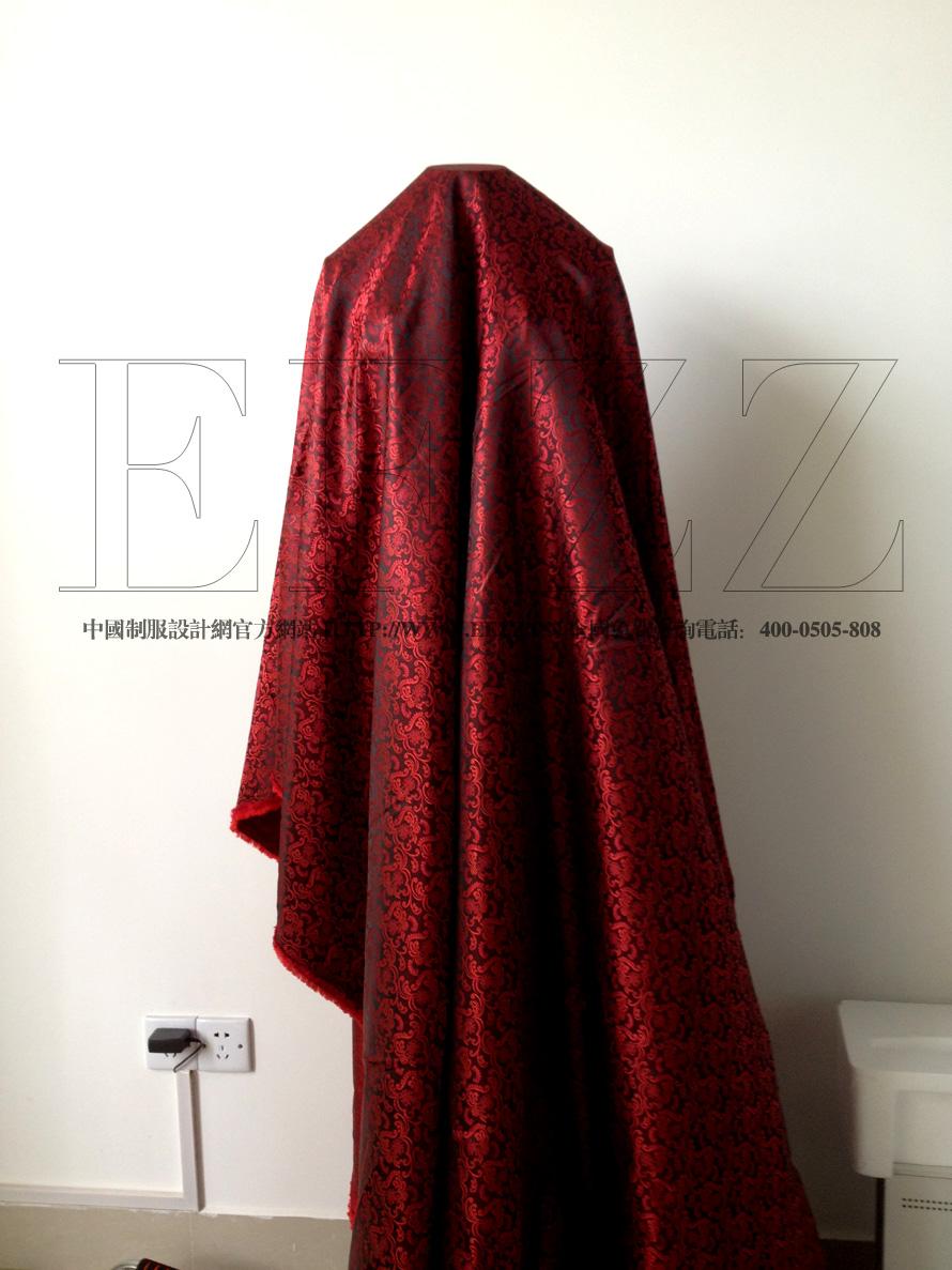 红色欧式复古花纹高密度提花布面料
