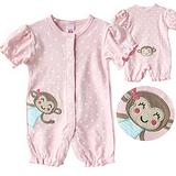 夏季卡特carter's女宝宝粉红色猴子造型短袖连体衣