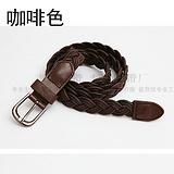 新款编织皮带男式棕色皮腰带针扣皮带腰带