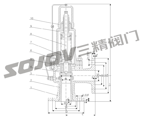 a42y-16-320弹簧全启封闭式安全阀,弹簧式法兰安全阀图片