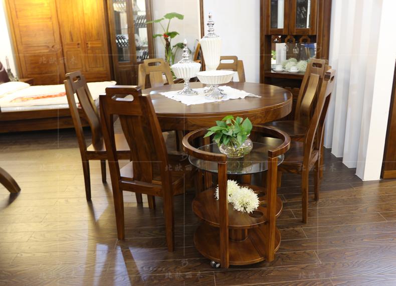 上海实木家具柚木餐桌圆餐桌拼板家具