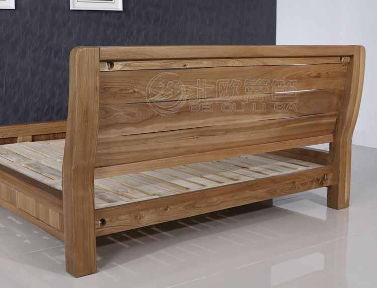 床价格_工厂直销现代简约实木床 北欧篱笆全榆木 卧室