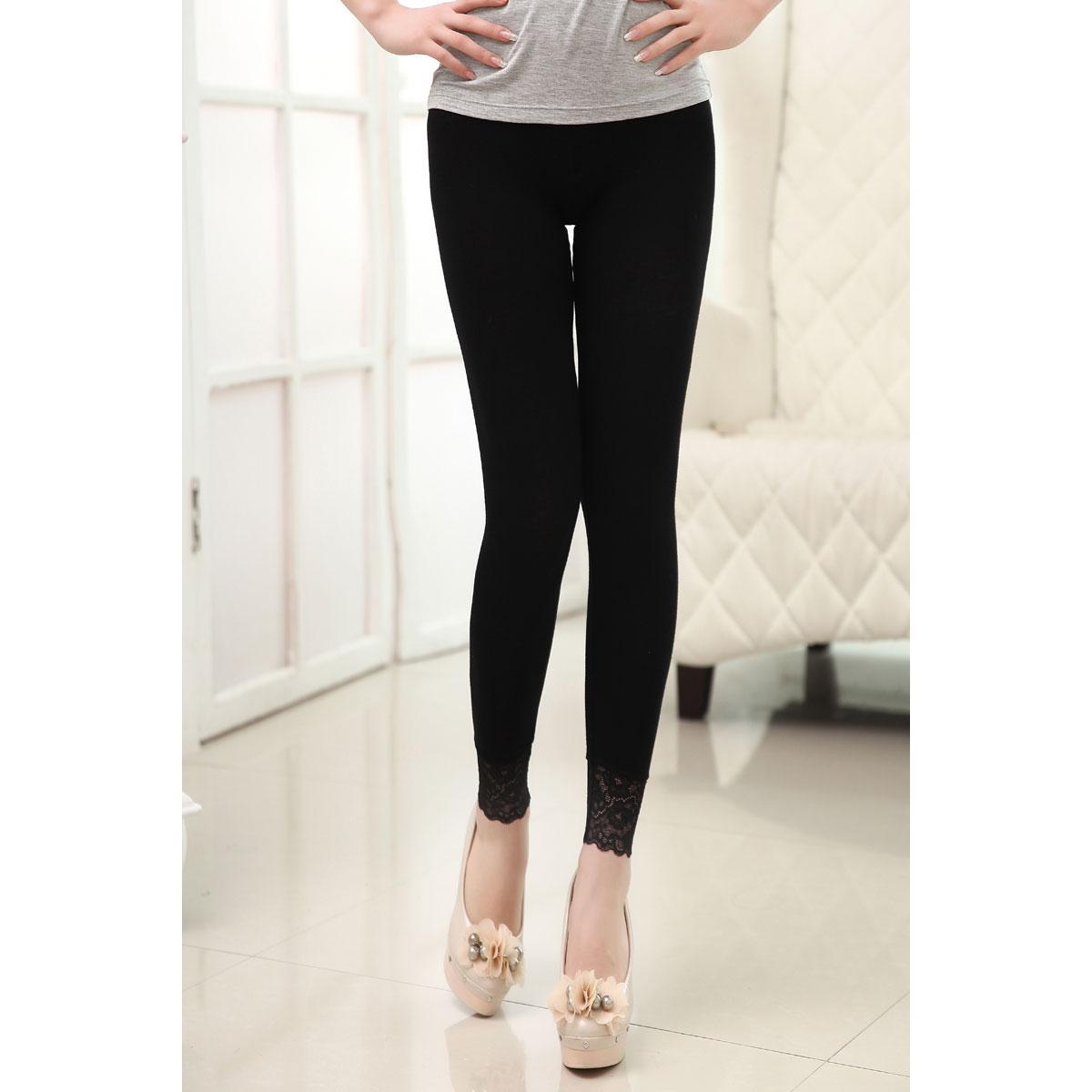 九分裤黑色高弹力脚口蕾丝花边薄款打底裤夏季爆款