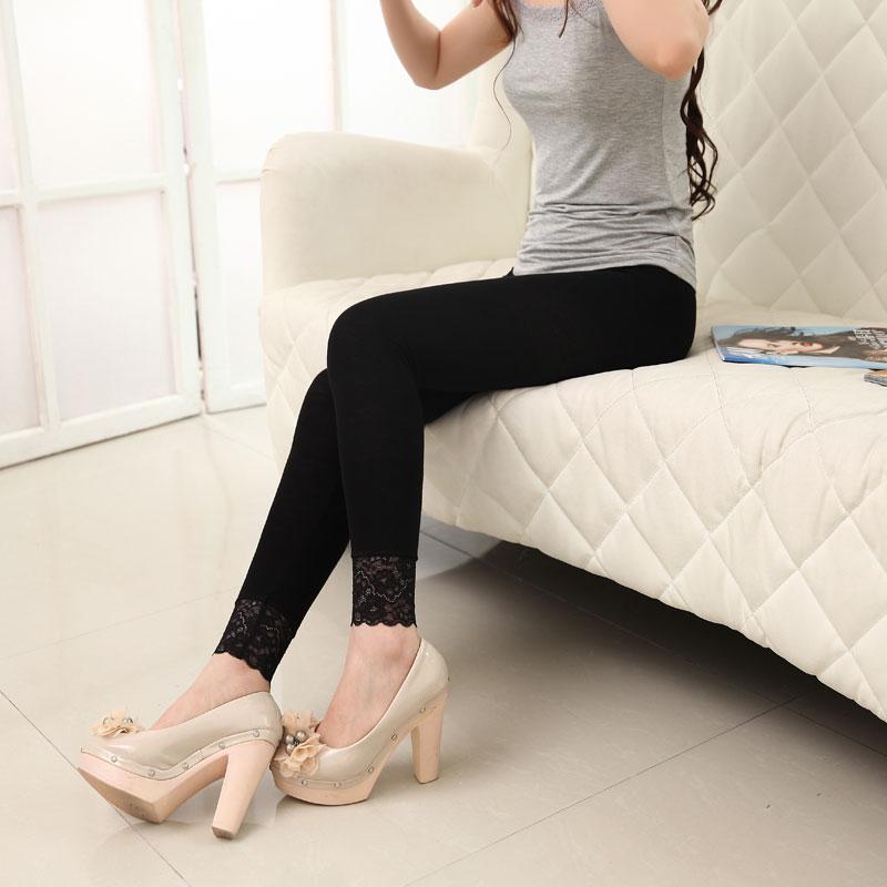 丝袜显瘦九分裤黑色高弹力脚口蕾丝花边薄款打底裤