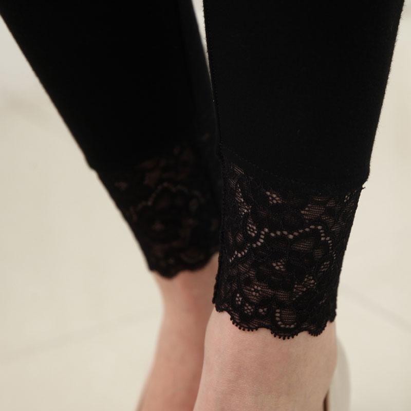 莫代尔超丝袜显瘦九分裤黑色高弹力脚口蕾丝花边薄款