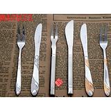 不锈钢月饼刀叉 陶瓷柄餐具 韩式水果/蛋糕刀叉 创意西餐餐具批发