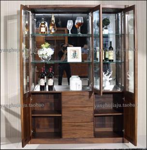 品牌实木家具北美黑胡桃全实木酒柜三门装饰柜批发
