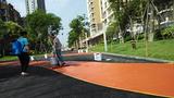 彩色防滑路面防滑路面材料防滑路面透水路面 儒亿彩色路面施工在彩色