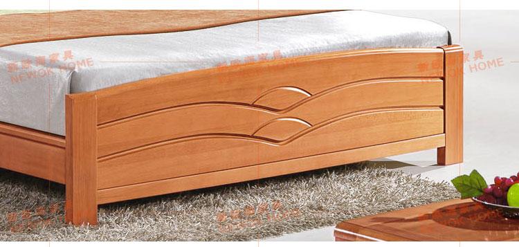 榉木实木床床尾实拍图1