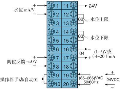 dy2000锅炉水位(带阀位显示跟踪)单冲量调节器接线图