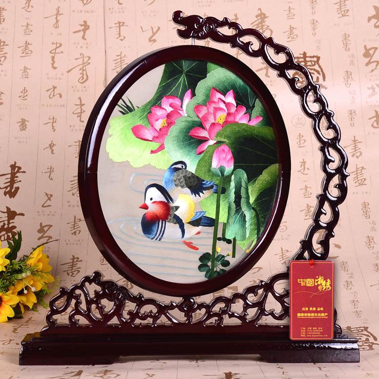 湖南手工刺绣鸳鸯荷花 国庆节结婚礼物当然首选紫御湘绣双面绣摆件