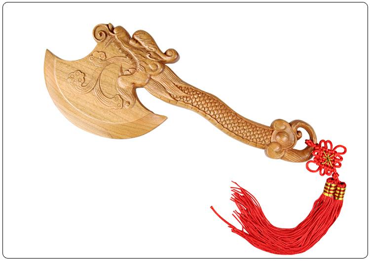 其他木制工艺品价格 供应 桃木龙头斧子手斧睚眦斧头 挂饰结婚坐福一